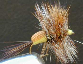 yellow humpy fly pattern